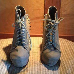 Suede block heels with spikes